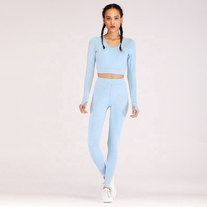 Ptsports Wholesale Autumn Yoga Slim Fit Long sleeve backless Crop Top and leggings set fashion Women fitness wear