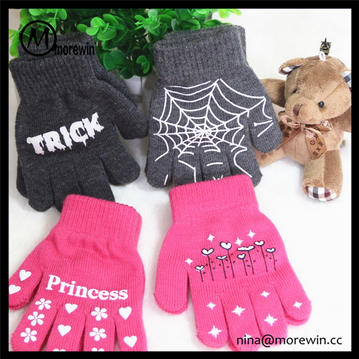 Morewin gloves unisex custom wholesale cheap acrylic kids magic glove knitted glove