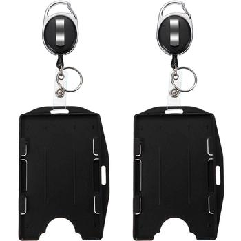 HOT SELL IN AMAZON Retractable lD Badge Holder Rigid with Carabiner Reel - Clip On Id Card Holders Dual 2 Sided Open