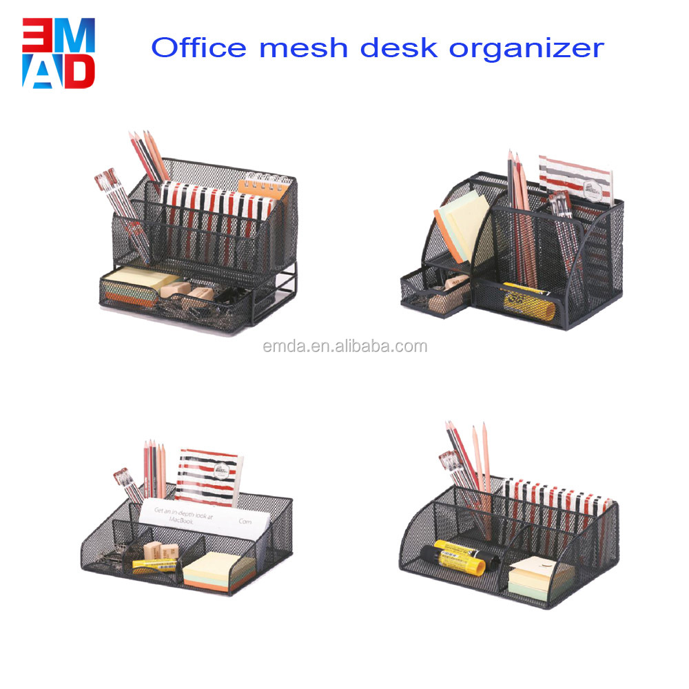 Mesh metal office supplier designer book stand organizer tray desk magazine file boxes