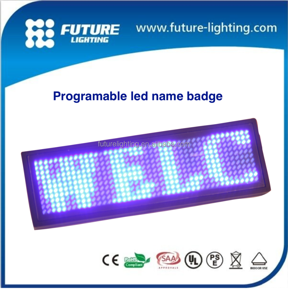 Indoor advertisement in shops digital messages programmable led name badge blue lights