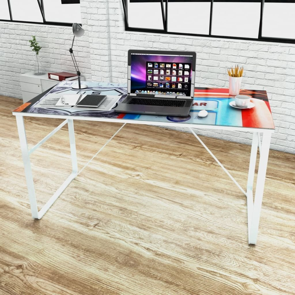 "Unique Rectangular Desk Compact Computer Desk,Office Desks With Tempered Glass Surface 47.2"" x 23.6"" x 29.5"""