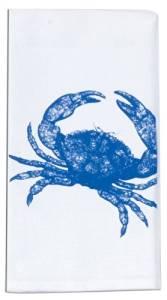 """Flour Sack Dishtowel - Blue Crab - 26"""" Square - 100% Cotton by K.D.D."""