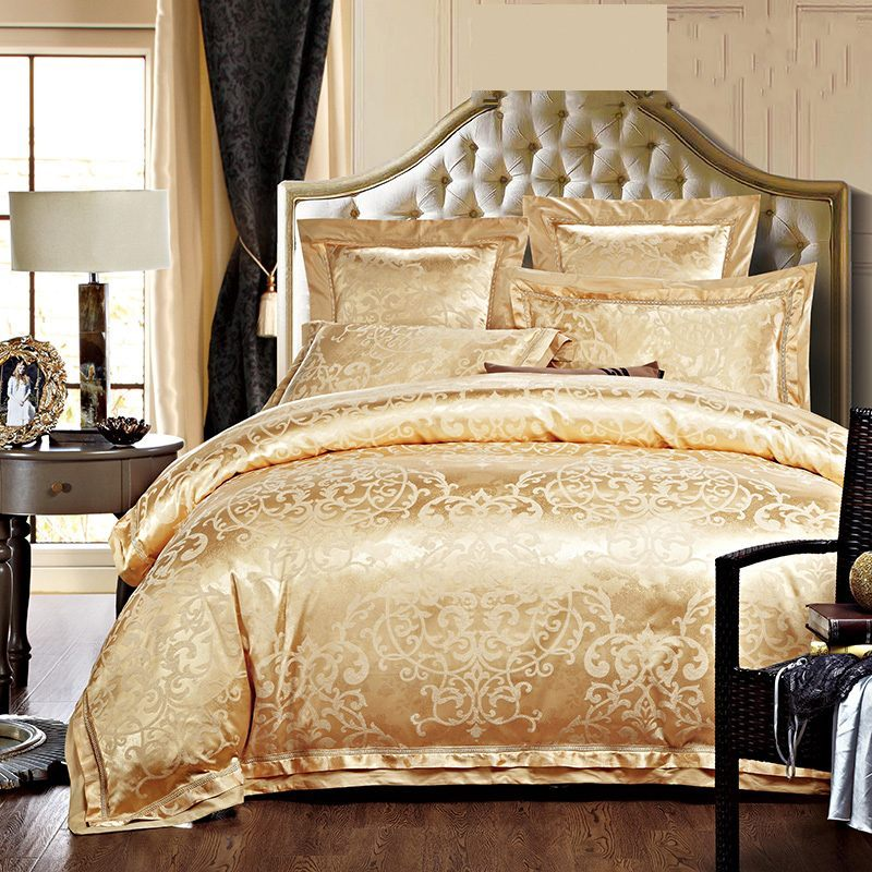 Luxury Jacquard Silk Bedding Sets Queen King Size 4pcs