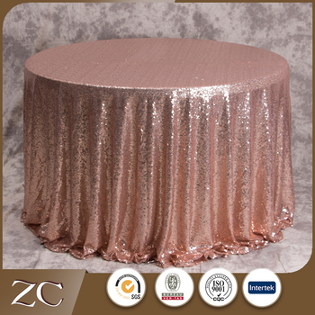 Whole New Design Rose Gold Round Wedding Sequin Table Cloth