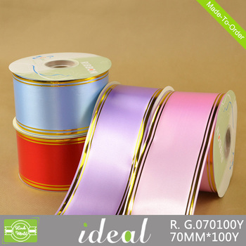 hot sale solid with gold line colorful polypropylene cake decorating ribbon