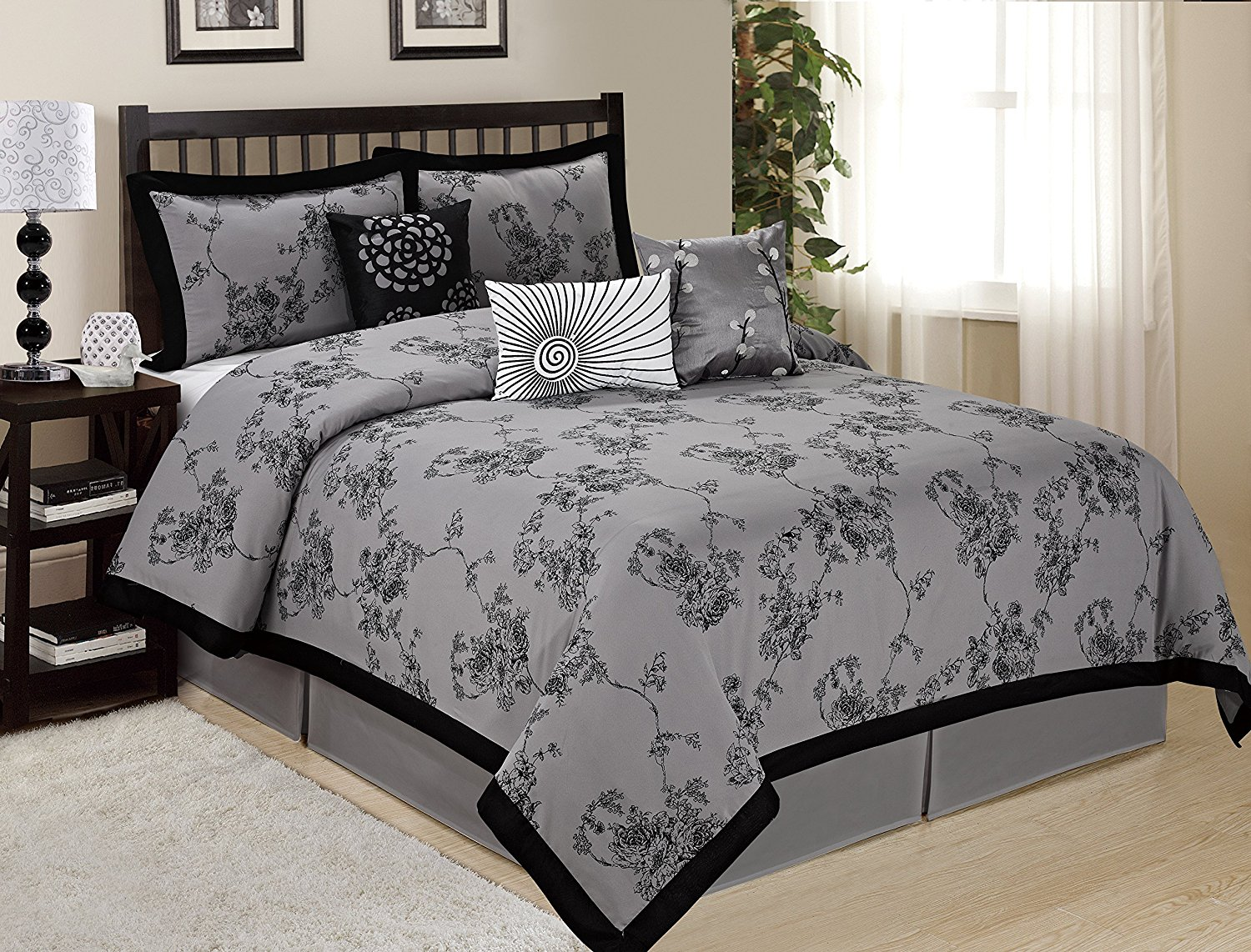 7 Piece SUNRISE Floral Printed Comforter Set Queen King CalKing Size (King, Gray)