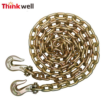 Grade 70 Yellow Galvanized Transport Binder Safety Chain with Grab Hook