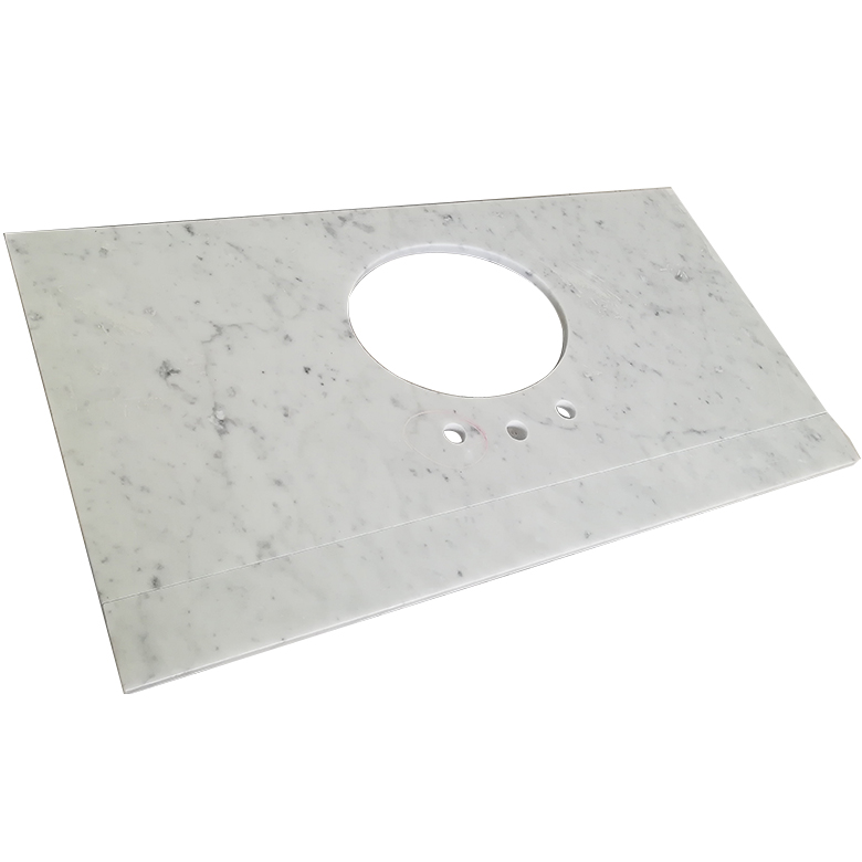 Cheap price chinese white coarse grain granite countertop table top with  one piece bathroom sink