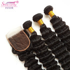 Female hair pieces best selling products deep wave wavy pineapple wave bundles with closure virgin indian temple hair