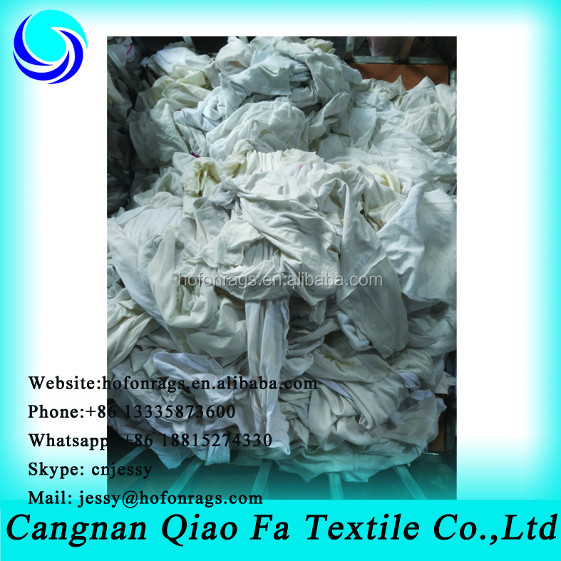 White T-shirt Good Oil Absorbency Wiping Rags ( Used) Cotton Yarn ...