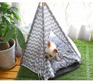 Five sticks PV fleece waterproof portable tribe teepee bed wood pet dog tent