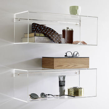 Clear Acrylic Wall Mounted Shelf Square