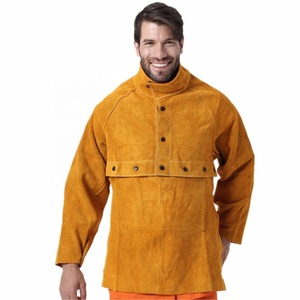 062602ebdebca Welding Apron Leather Cowhide Welder Protect Clothing Cape Bib Apron with  Sleeves