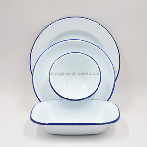 Wholesale Alibaba Dinner Plates Enamel Round Plate Butter Dish Restaurant Metal Dishes