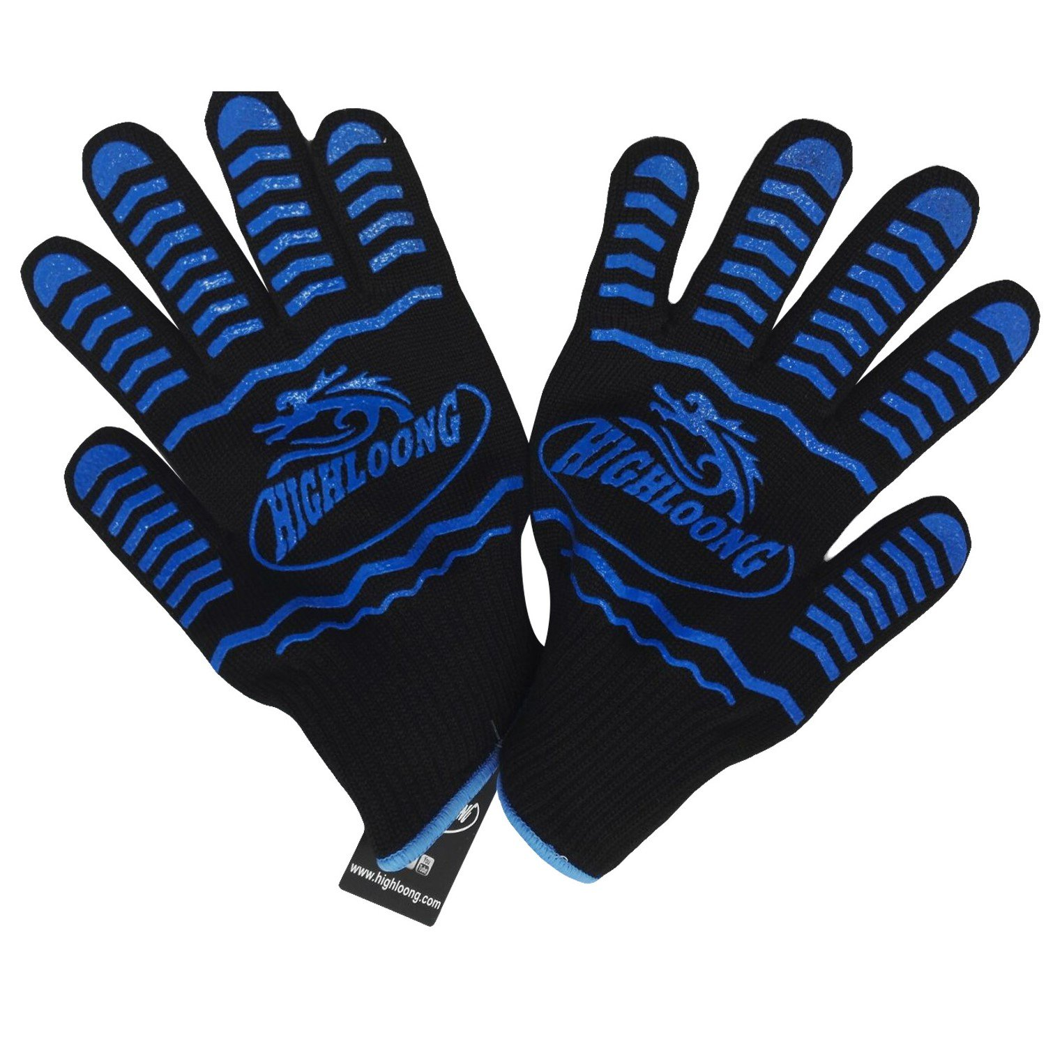 HIGHLOONG 932°F Extreme Heat Resistant BBQ Oven Safety Gloves - EN407 Certified, Thick but Light Weight for Kitchen Potholder and Outdoors-1 Pair (2 Pieces Set) (Black Long Cuff)