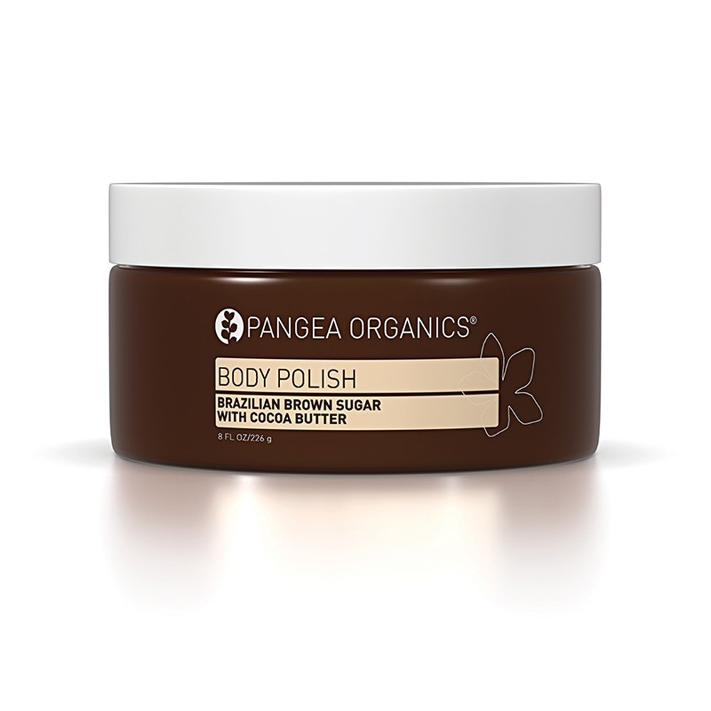 Pangea Organics Body Polish | Brazilian Brown Sugar & Cocoa Butter | Best Exfoliating Body Scrub | 8 Fl. Oz. Natural Sugar Scrub | Organic, Moisturizing Body Polish | Gluten-Free & Vegan | Non-GMO