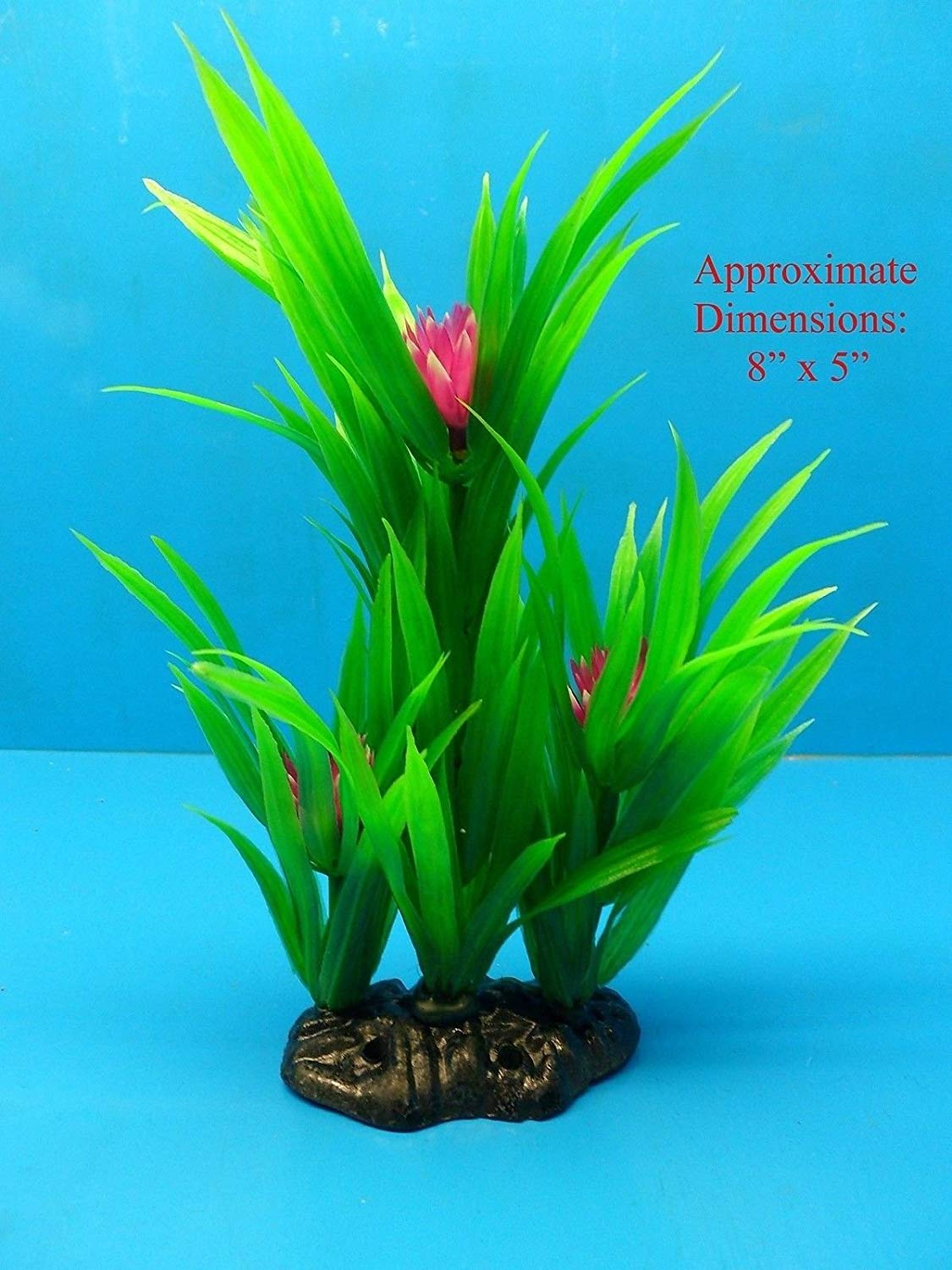 "Azaina_atl AQUARIUM DECORATION - PLASTIC PLANT W HEAVY BASE A2025 8"" H x 5"""