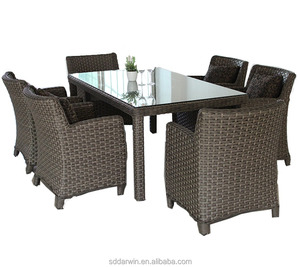 Best deals patio garden furniture wicker table and chairs aluminum outdoor dinning set