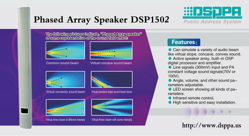 Dsppa Dsp1502 Phased Array Column Speaker For Pa System 150w - Buy Phased  Array Column Speaker For Pa System 150w,Phased Array Column Speaker For Pa