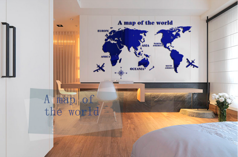 Custom made family world map wall decalslarge mural acrylic wall custom made family world map wall decals large mural acrylic wall sticker gumiabroncs Choice Image