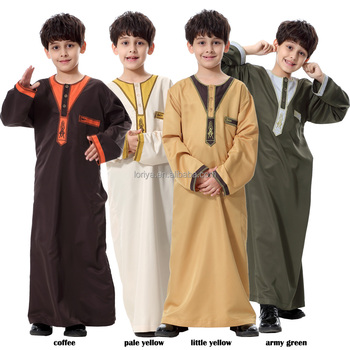 New design comfortable children islamic clothing factory price boy's muslim long dress best selling kids abaya