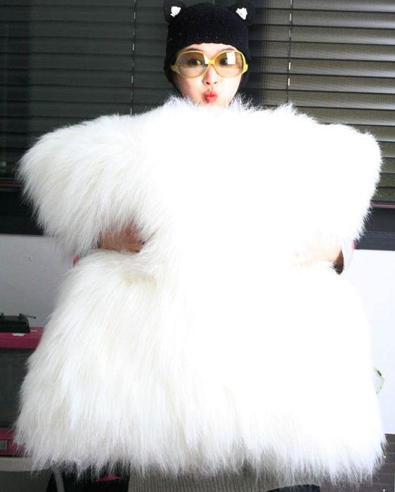 Get Quotations · Free shipping South Korea imported wool material containing a core of pure white luxury oversized luxury