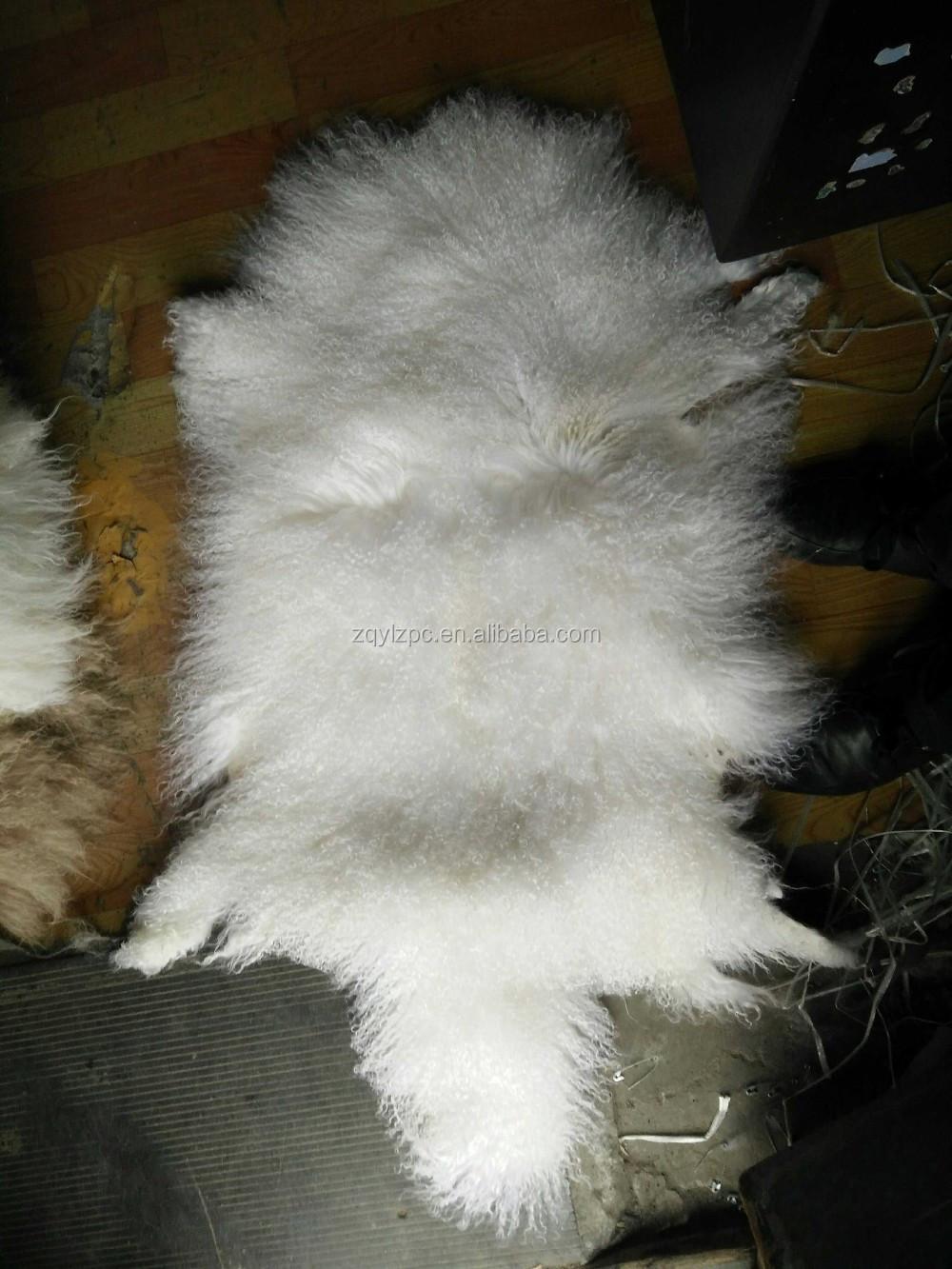 Curly Long Hair Mongolian Sheep Fur Pelt Real Lamb Fur