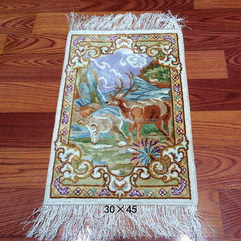 Persian 1x1.4ft Handmade Cheap Small Silk Chinese Art Wall Hanging ...