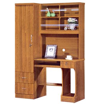 MDF Computer Table With Bookshelf Designs Pvc Door Wooden Office