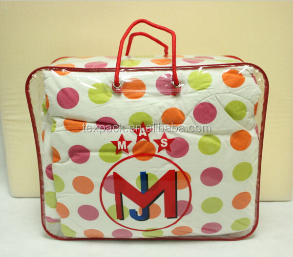 Quilt Storage Clear Pvc Plastic Zip Bag For Bedding
