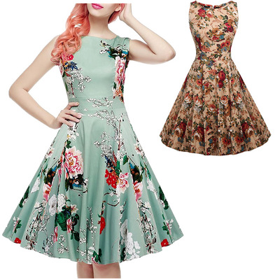Hearty Print Casual Floral 2018 Women Summer Sexy Vintage Fashion Sundress Elegant Midi Beach Dress Ample Supply And Prompt Delivery Dresses