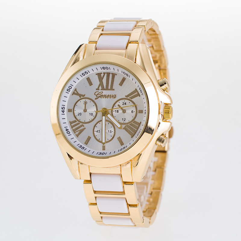 Geneva 3 Dial Stainless Steel Watch with Golden Quartz Lxurury Business Wristwatches For Women
