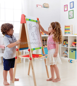 Enfants En Gros école Fournisseur Pas Cher Peinture Petit Jeux éducatifs Chevalet Tableau Noir En Bois Chevalet Support De Planche à Dessin Jouet