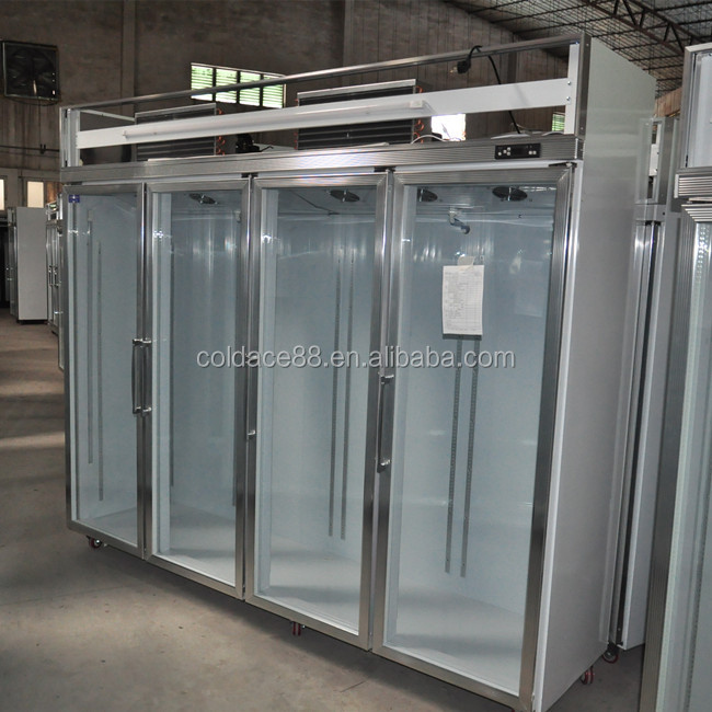 4 door Upright chiller/Glass beverage showcase/Used Glass door cooler on sale