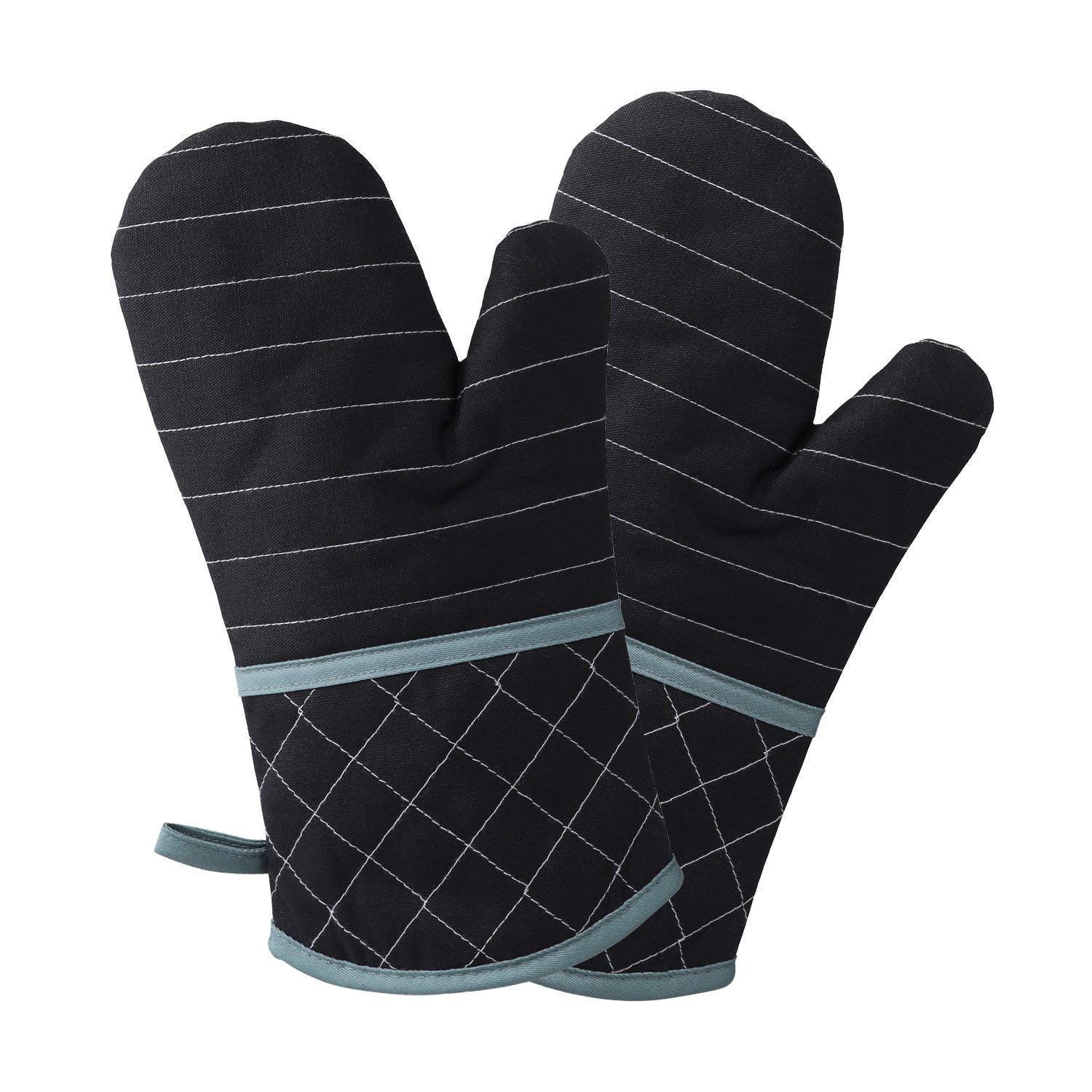 Oven Glove - Heat Resistant Gloves up to 260 ℃, Non-slip Grilling Gloves, Suitable for Cooking, Baking, Grilling, Oven Mitts, Black, 1 Pair