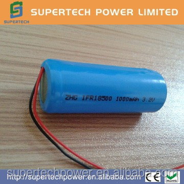 cheap price ZHG IFR18500 lifepo4 1000mAh 3.2V battery with wires