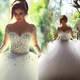 2016 New Long Sleeve Ball Gown Crystal Tulle Skirt Strapless Bride's Wedding Gowns