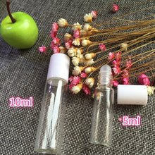 New Empty Ball Perfume Cosmetic Make Up Bottles Waterproof Durable White Cap Clear Glass Roller Bottle