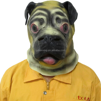 bulldog mask latex pug mask cute rubber dog head mask