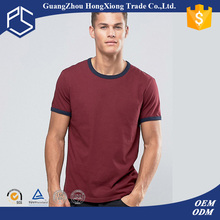 China Factory Hongxiong 180 Grams Short Sleeve Round Neck Cotton Burgunry Black Cuff Plain Men Towel Material T-Shirt