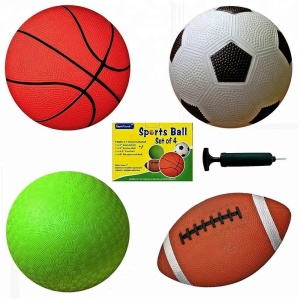 "Set of 4 PVC Sports Balls with 1 Pump, 6"" Soccer Ball Basketball Playground Ball Football"