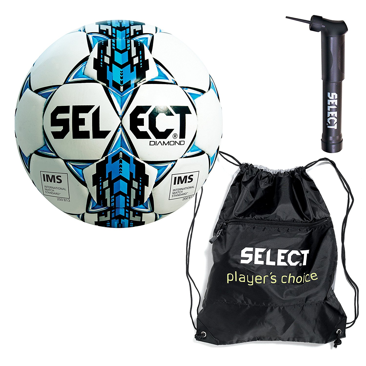 Select Diamond ball pack - 1 x soccer ball with sack pack & soccer ball hand pump(White/Blue, Size 5)