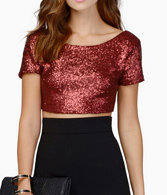 EY0770B Woman Stylish Black Round Neck Sequined Short Sleeve Crop Top