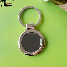 New products wholesale round shape black stainless steel zinc alloy blank metal key tag