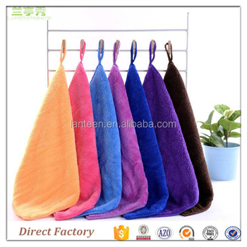 Factory Price Microfiber Kitchen Hand Cleaning Towels With Pile Sanding  With Hanging Loop 30*30cm