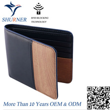 Customize rfid blocking wood grain 100% genuine cow leather men wallet
