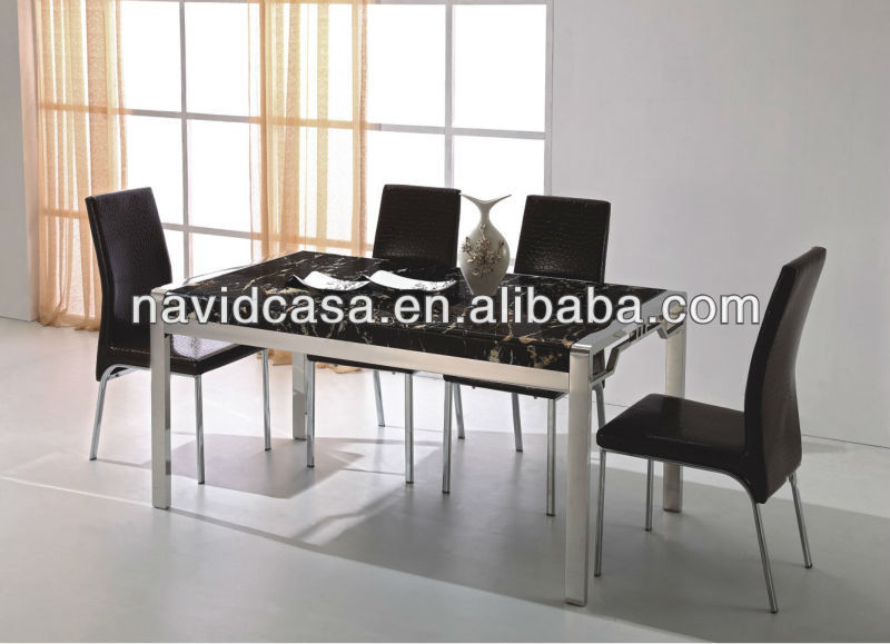 Modernen gro handel marmorplatte edelstahlrahmen esstisch for Esstisch marmorplatte