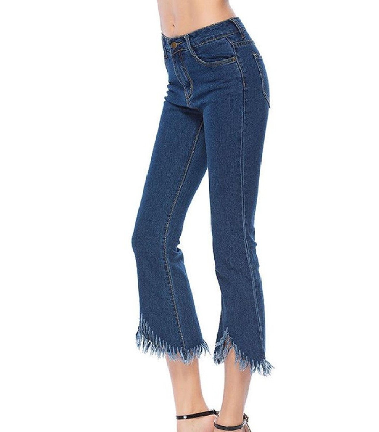 881b6e9532b0 Get Quotations · Abetteric Womens Flare Macrame Stretchy Regular-Fit Ladies  Skinny-Fit Jeans Leggings