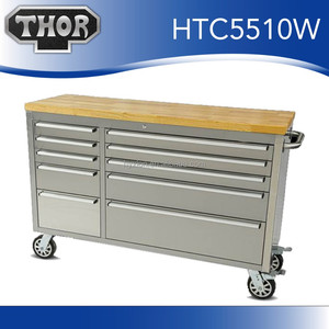 Stainless steel 55 inch mobile tool chest tool workbench for garage tools